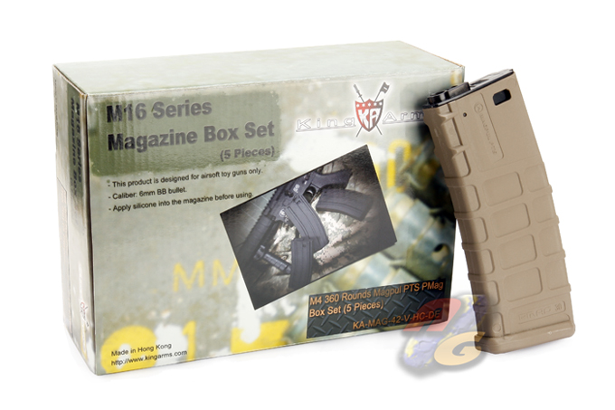 King Arms 360 Rounds Magpul PMAG For M4 Series (DE, 5 Pcs)
