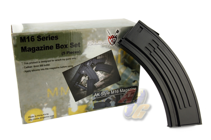 King Arms AK Style M16 100 Rounds Magazines Box Set (5pcs) - BK