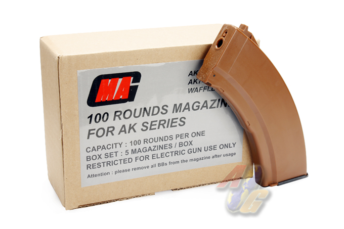 MAG 100 Rounds Magazine For AK Series Box Set ( AKM ) ( Brown )