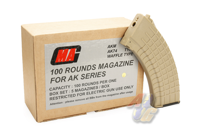 MAG 100 Rounds Magazine For AK Series Box Set ( Waffle ) (Sand)